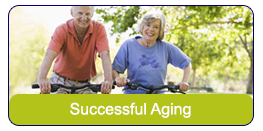 Successful Aging: A senior couple riding bike in the park.