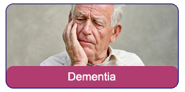 Dementia: An elderly man with his hand on his cheek and eyes closed while looking confused.
