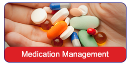 Medication Management: A hand holding a variety of pills.