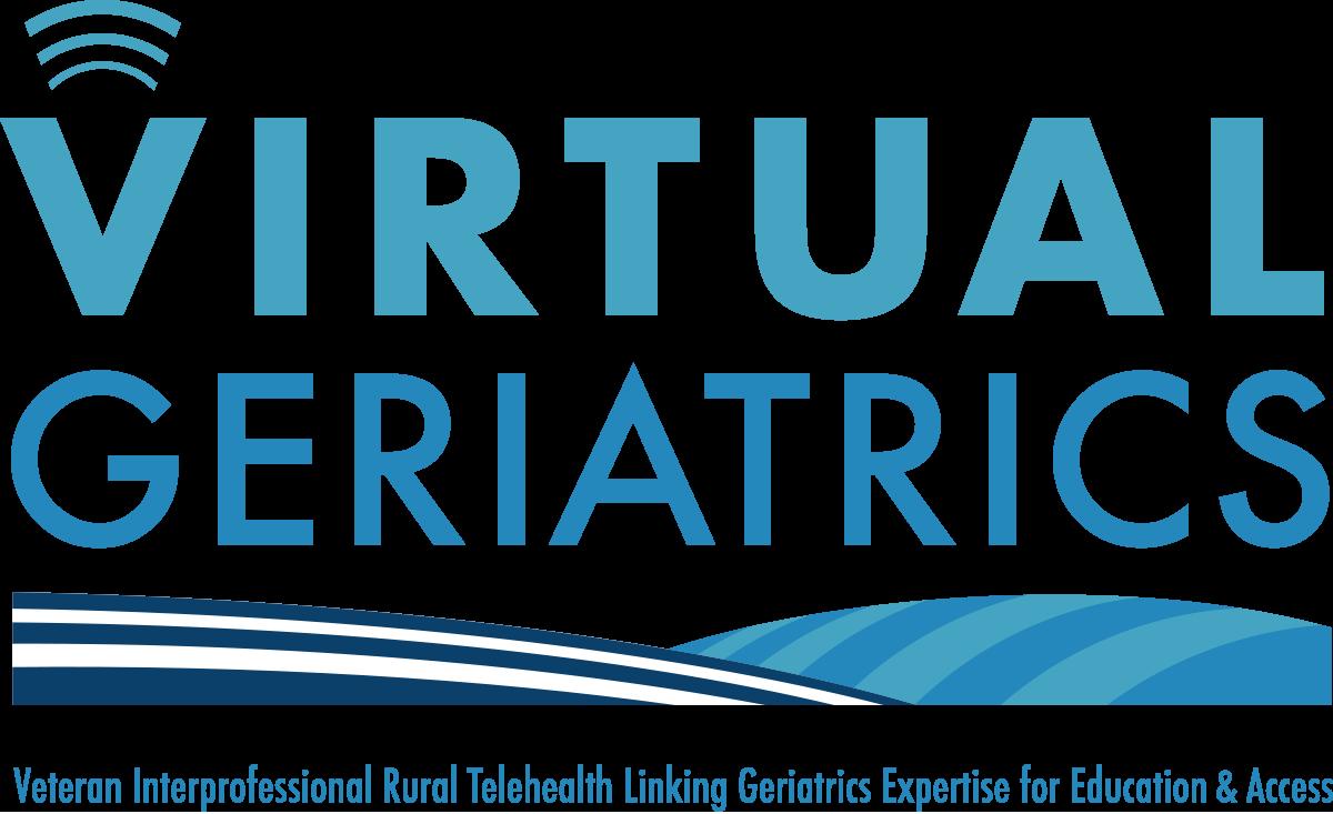 Virtual Geriatrics logo over words Veteran Interprofessional Rural Telehealth Linking Geriatrics Expertise for Education & Access