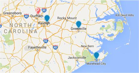Map of Durham GRECC/Site centers
