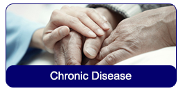 Chronic Disease: Elderly person's hands resting on each other with a younger person's hand resting on top of them.