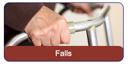 Falls: An elderly man's hand gripping his walker.