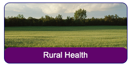 Rural Health: A green field with sky and trees in the horizon.